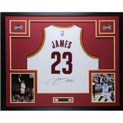 LeBron James Signed Cavaliers 35x43 Custom Framed Jersey (UDA COA)