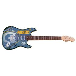 """Aaron Rodgers Signed Packers Electric Guitar Inscribed """"XLV MVP"""" (Steiner)"""