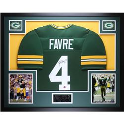 "Brett Favre Signed Packers 35"" x 43"" Custom Framed Jersey (Favre COA)"