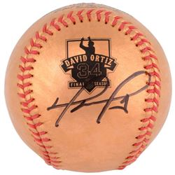David Ortiz Signed Gold Retirement Baseball (MLB)