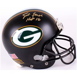 "Brett Favre Signed Packers Full-Size Authentic On-Field Matte Black Helmet Inscribed ""HOF 16"" (Radtk"
