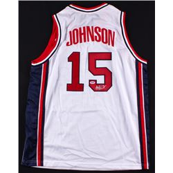 Magic Johnson Signed Team USA Jersey (PSA COA)
