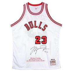 Michael Jordan Signed Bulls Mitchell  Ness Rookie Year Highlight Stat Jersey (UDA COA)