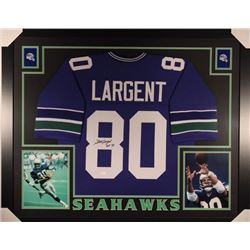 "Steve Largent Signed Seahawks 35x43 Custom Framed Jersey Display Inscribed ""HOF 95""  (JSA COA)"