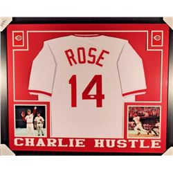 "Pete Rose Signed Reds 35x43 Custom Framed Jersey Display Inscribed ""A256"" (JSA COA)"