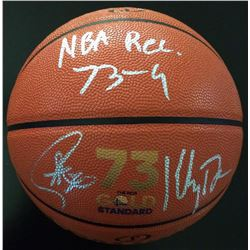 "Stephen Curry  Klay Thompson Signed Gold Standard Basketball Inscribed ""NBA Rec. 73-9"" (Fanatics Hol"