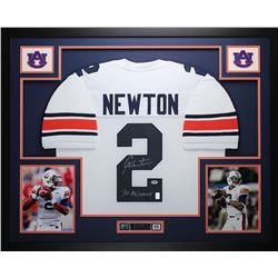 "Cam Newton Signed Auburn 35"" x 43"" Custom Framed Jersey Inscribed ""10 Heisman"" (PSA COA)"