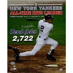 "Derek Jeter Signed Yankees ""All Time Hits Leader"" 16x20 Photo (Steiner COA)"