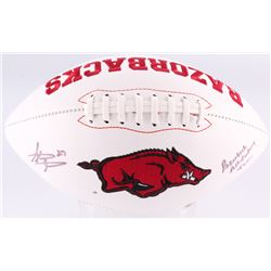 "Steve Atwater Signed Arkansas Razorbacks Logo Football Inscribed ""Razorback All-Century Team"" (JSA C"
