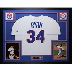 Nolan Ryan Signed Rangers 35x43 Custom Framed Jersey Display (Ryan Hologram)