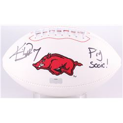 "Knile Davis Signed Arkansas Razorbacks Logo Football Inscribed ""Pig Sooie!"" (Radtke Hologram)"