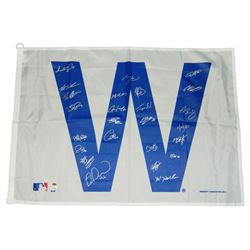2016 Chicago Cubs Team signed Cubs 27x37 white 'W' flag With (25) Signatures Including Kris Bryant,