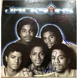 "The Jackson 5 ""The Jacksons Triumph"" Vinyl Record Album Signed by (5) with Michael Jackson, Jermaine"
