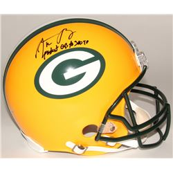 "Aaron Rodgers Signed Packers Full-Size Authentic On-Field Helmet Inscribed ""Fastest QB to 300 TD"" (S"