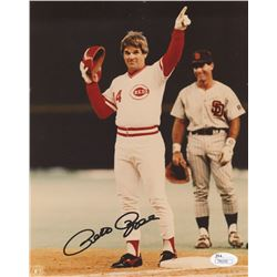 Pete Rose Signed Reds 8x10 Photo (JSA COA)