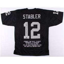 "Ken ""Snake"" Stabler Signed Raiders Career Highlight Stat Jersey (Radtke COA)"