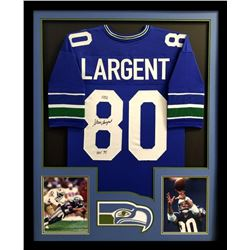 "Steve Largent Signed Seahawks 34x42 Custom Framed Jersey Inscribed ""HOF '95"" (Radtke COA)"