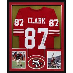 Dwight Clark Signed 49ers 34x42 Custom Framed Jersey (JSA COA)