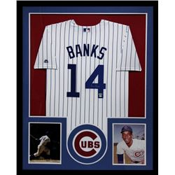 Ernie Banks Signed Cubs 34x42 Custom Framed Jersey (TriStar)