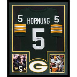 Paul Hornung Signed Packers 34x42 Custom Framed Jersey (JSA COA)