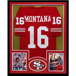 Joe Montana Signed 49ers 34x42 Custom Framed Jersey (JSA COA)