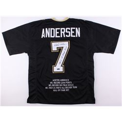 "Morten Andersen Signed Saints Career Highlight Stat Jersey Inscribed ""Hall of Fame 2017"" (Radtke COA"