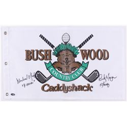 "Cindy Morgan  Michael O'Keefe Signed 12x20 Caddyshack Gopher Logo Bushwood Flag Inscribed ""Lacey""  """