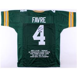 "Brett Favre Signed Packers Career Highlight Stat Jersey Inscribed ""'95, '96, '97 MVP"" (Brett Favre C"