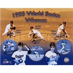 1995 World Series Winners Signed 11x14 Commemorative Photo with (3) Clem Labine, Johnny Podres, Roge