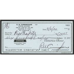 Ronnie Walter Cunningham Signed 2000 Personal Bank Check (JSA COA)