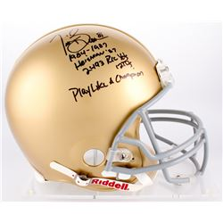 """Tim Brown Signed Notre Dame Full-Size Authentic On-Field Helmet with (4) Career Stat Inscriptions  """""""