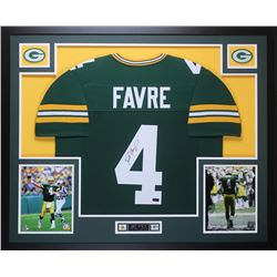 Brett Favre Signed Packers 35x43 Custom Framed Jersey (Favre Hologram)