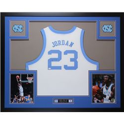 Michael Jordan Signed North Carolina Tar Heels 35x43 Custom Framed Jersey (PSA LOA)