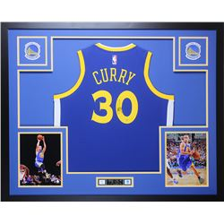 Stephen Curry Signed Warriors 35x43 Custom Framed Jersey (Steiner Hologram)