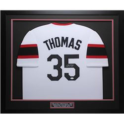 Frank Thomas Signed White Sox 35x43 Custom Framed Jersey (JSA COA)
