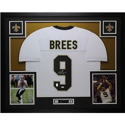 Drew Brees Signed Saints 35x43 Custom Framed Jersey (JSA COA)