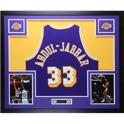 Kareem Abdul-Jabbar Signed Lakers 35x43 Custom Framed Jersey (Beckett COA)