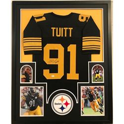 Stephon Tuitt Signed Steelers 34x42 Custom Framed Jersey (JSA COA)