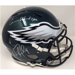 Nick Foles  Carson Wentz Signed Eagles Super Bowl LII Speed Authentic On-Field Full-Size Speed Helme