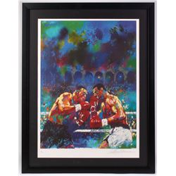 LeRoy Neiman Signed  Tyson v. Spinks  25x32 Custom Framed Print (JSA COA)