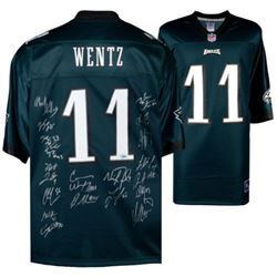 Philadelphia Eagles Jersey Signed by (14) with Nick Foles, Fletcher Cox, Carson Wentz, Chris Long, J