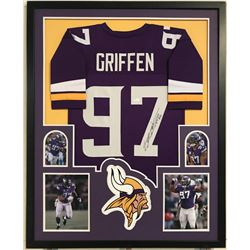 Everson Griffen Signed Vikings 34x42 Custom Framed Jersey Display (JSA COA)