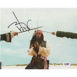 "Johnny Depp Signed ""Pirates of the Caribbean"" 8x10 Photo (PSA COA)"