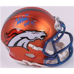 "Terrell Davis Signed Broncos Mini Blaze Speed Helmet Inscribed ""HOF 17"" (Radtke COA  Davis Hologram)"