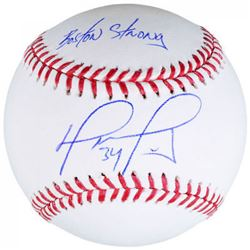 "David Ortiz Signed OML Baseball Inscribed ""Boston Strong"" (Fanatics  MLB Hologram)"