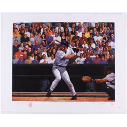 Luis Gonzalez Signed Diamondbacks  Luis Gonzalez: Faces in the crowd  22.5x28 Limited Edition Lithog