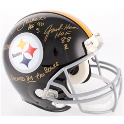 Jack Ham, Jack Lambert  Andy Russell Signed Steelers Throwback TK Full-Size Suspension Helmet With (