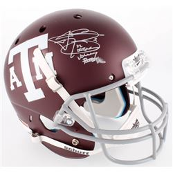 "Johnny Manziel Signed Texas AM Custom Matte Maroon Full-Size Helmet Inscribed ""12 Heisman""  ""Johnny"