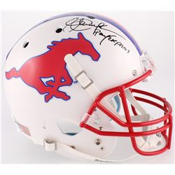 "Eric Dickerson Signed SMU Mustangs Full-Size Helmet Inscribed ""Pony Express"" (JSA COA)"