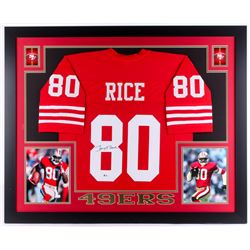 Jerry Rice Signed 49ers 35x43 Custom Framed Jersey (Beckett COA)